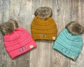 CC KIDS43 Monogram Fur Pom Beanie, fur Pom Kids Winter Hat, girls christmas gift, Monogrammed Fur Pom CC Beanie Kids, personalized girls hat