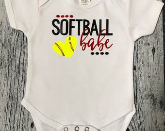 b260216a5 Softball babe bodysuit, Softball bodysuit, infant softball, Baby softball  outfit, softball baby, baby softball bodysuit, Girls Softball