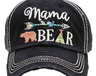 292a8d59c5f8a Distressed Mama Bear Baseball Cap