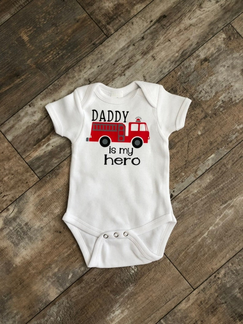 5c43d6260d5e8 Fireman Baby Shower gift, Daddy is my Hero Firefighter Bodysuit, First  Birthday Shirt, Fireman Baby, Daddy Gift, Baby Gift, Baby Shower Gift