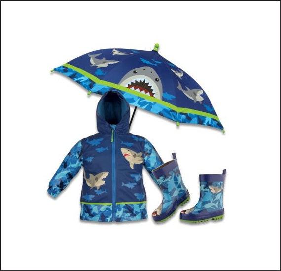 Boys Shark Raincoat Set, Kids Rainjacket, Personalized Rain Jacket, Shark Raincoat, Childrens Raincoat Set, Gift For Boy