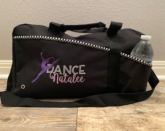 Embroidered Black Dancer Duffle Bag, Dancer Gift, Sports Bag, Dancer Coach Gift, Personalized Girl Dance Bag with Dancer Silhouette