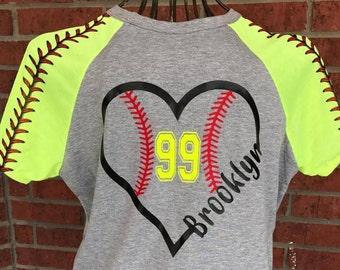 Personalized Softball Heart Shirt, Raglan Softball Heart Shirt, Raglan Softball Mom Shirt, Personalized Softball Shirt, Softball Mama