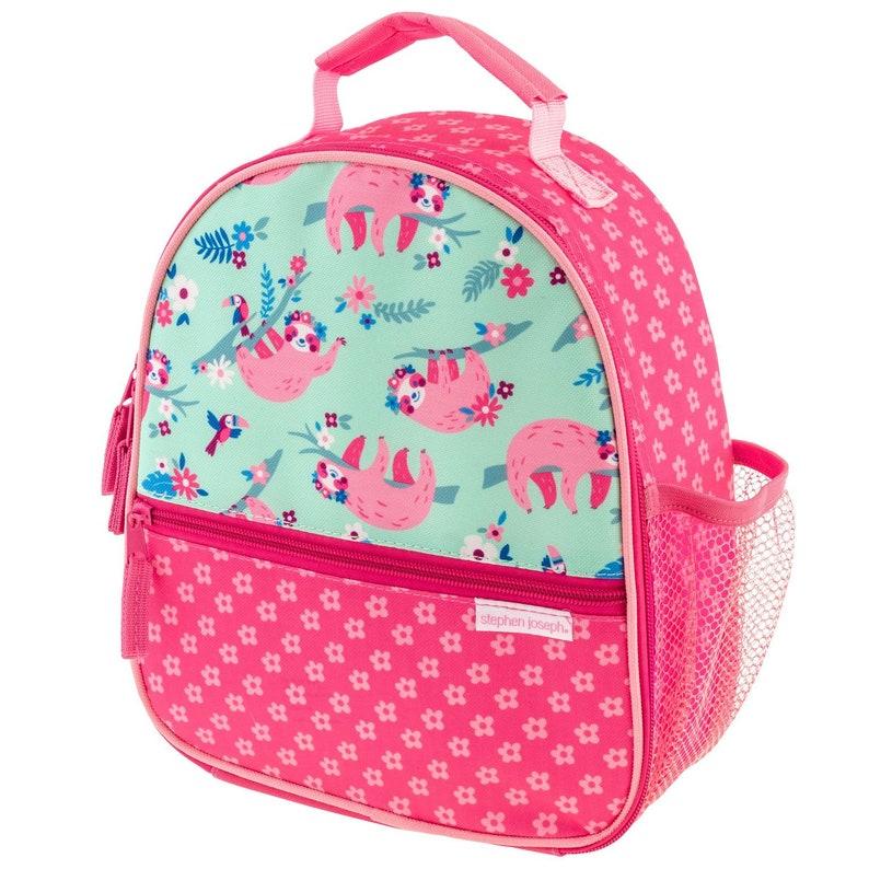Preschool Lunchbox backpack Stephen Joseph Allover Print Sloth Backpack Lunchbox Set Personalized Sloth Backpack and Lunchbox Set