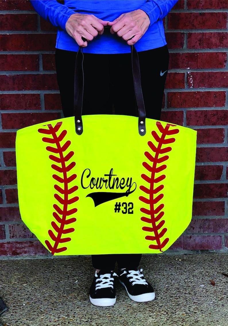 6d3d0d924034 Softball Tote Bag, Softball Mom Tote, Softball Bag, Personalized Canvas  Softball Tote, Large Softball Canvas Tote Bag, Coach Gift, Softball