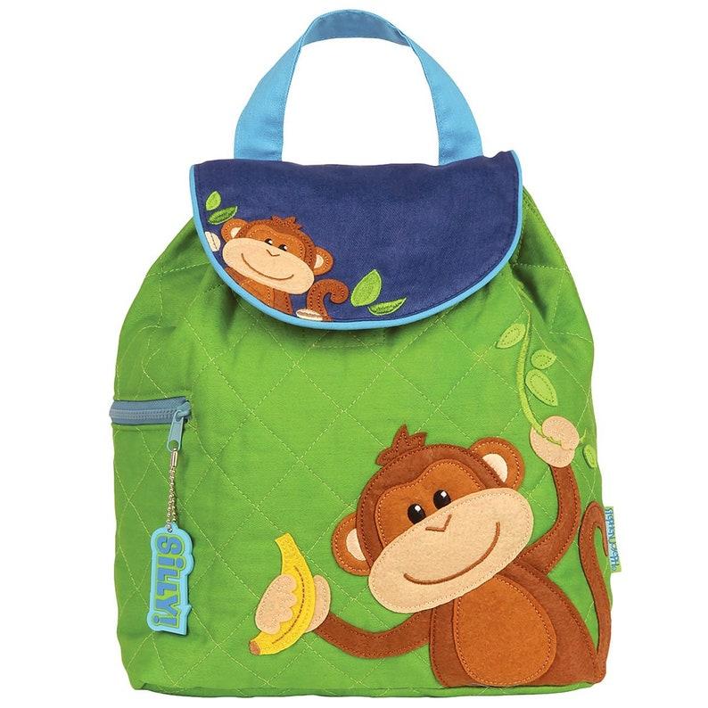 Stephen Joseph Boy monkey Backpack Children/'s Backpack Toddler Backpack Preschool Backpack Personalize Quilted Boy monkey Backpack
