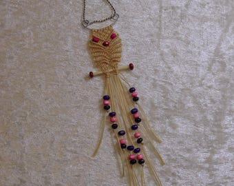 OWL Macrame pendant and wood beads