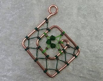 "Collection ""Copper"" - green maze pendant"