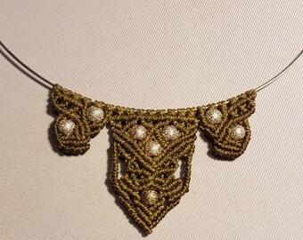 Necklace macrame Brown waxed cotton thread