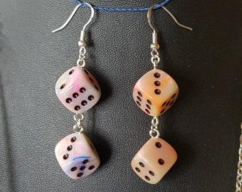 6 sided dice earrings