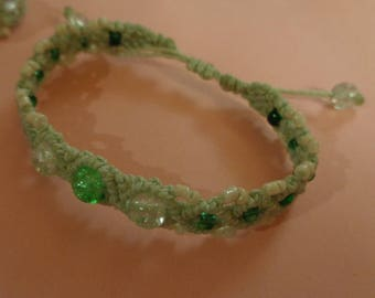 Bracelet macrame thread waxed cotton lace and pearls