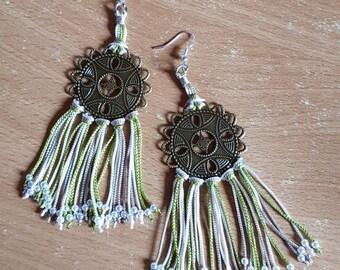 Earrings prints and silk yarn