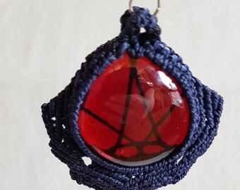 Blue waxed cotton macrame necklace