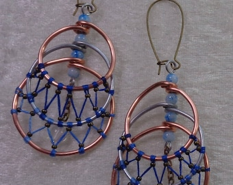 """Earrings """"Copper"""" Collection - Croissant size blue"""