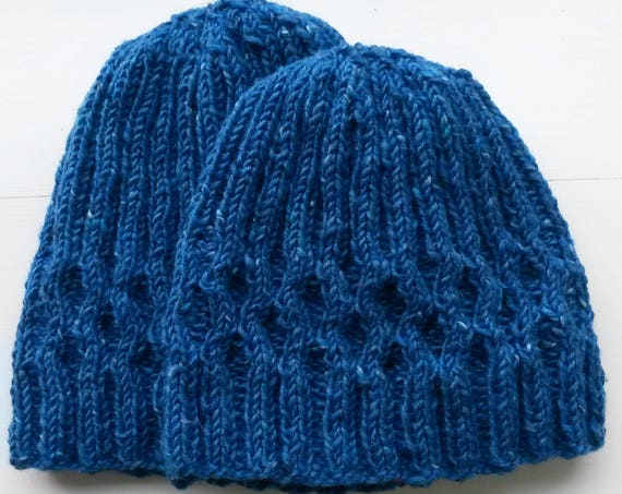 Knit wool beanie. Irish wool hat. Blue knit beanie. Men's knit beanie. Women's knit beanie. Made in Ireland. Original design. His & her hats