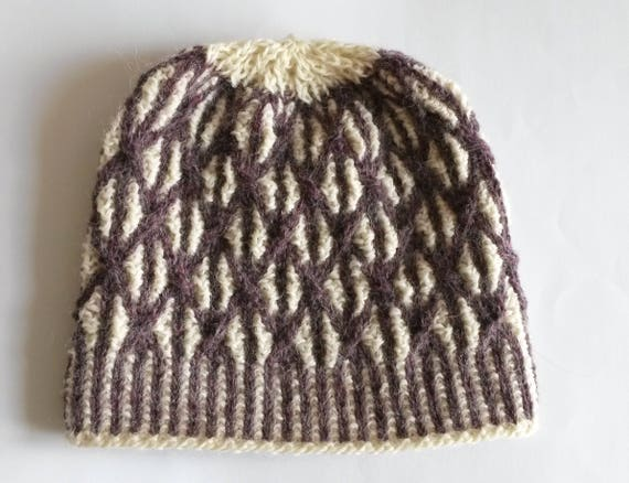 Knit beanie: unique purple and white cable Aran handknit hat. Luxury tweed alpaca & wool. Made in Ireland. Two-tone hat. One of a kind hat.