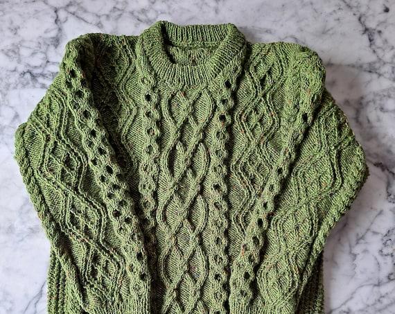 Green Aran jumper: men's Aran sweater. Genuine Aran knit. Made in Ireland. Original design. Aran sweater for him. Irish sweater for him XL