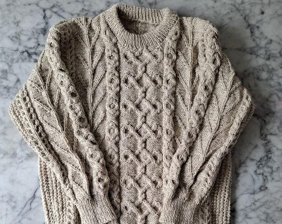 Men's Aran jumper: handknit Aran sweater in Irish wool. Made in Ireland. Genuine Aran sweater. XXL Aran sweater for him. Men's Irish sweater