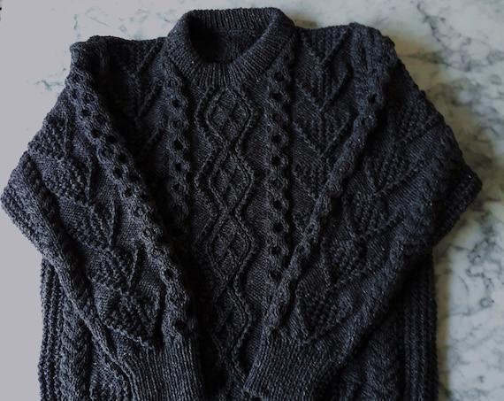 "Handknit Aran sweater: charcoal wool jumper. Made in Ireland. Genuine Aran knit. One of a kind. Men's Aran jumper. Men's XL Aran sweater 48"""