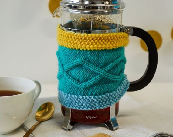 Cafetiere Cosy: Aran knit coffee pot cosy. Made in Ireland. French Press cozy. Colourful coffee cosy. Gift for new home. Handknit color cozy