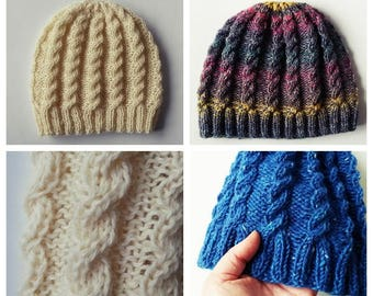 Knitting pattern  instant download PDF. Beanie hat pattern. Aran cable hat. Cable  knit pattern. Aran hat pattern. Classic cable beanie. 57b464d4aae