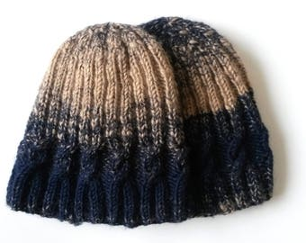 Aran cable beanie  Two-tone hat in camel   navy. Chunky knit hat. Original  design. Made in Ireland. Unique hat. Gift for her or gift for him 6ea2408c9122