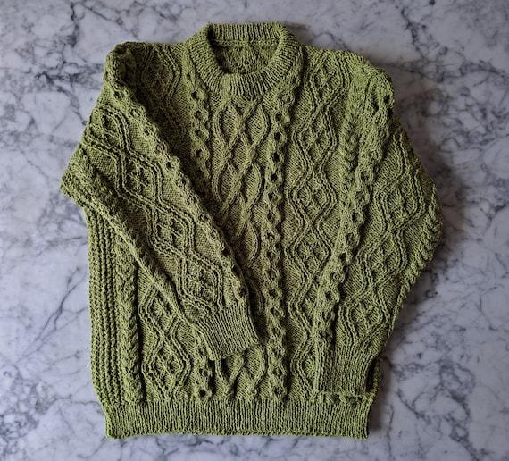 Men's Aran sweater: handknit genuine Aran in green wool. Made in Ireland. Aran sweater for him. Men's Large Aran jumper. Men's Irish sweater