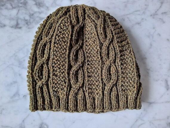 Cable knit beanie: handknit wool beanie in khaki Irish wool. Made in Ireland. Original design. Beanie for him. Men's beanie. Beanie for her.