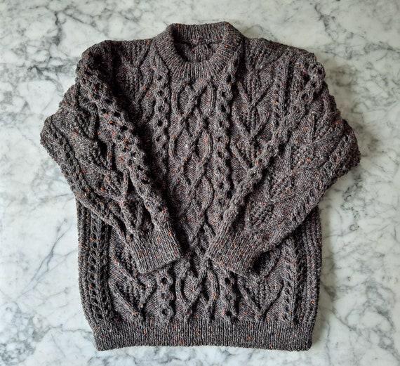 Men's Aran sweater; handknit men's jumper in Irish tweed wool. Made in Ireland. Aran for him. Gift for Dad. Men's Aran jumper. XL size Aran.