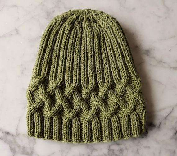 Cable knit beanie in merino wool. Green knit beanie. Original design. Made in Ireland. Beanie for him. Men's beanie. Women's beanie.Aran hat