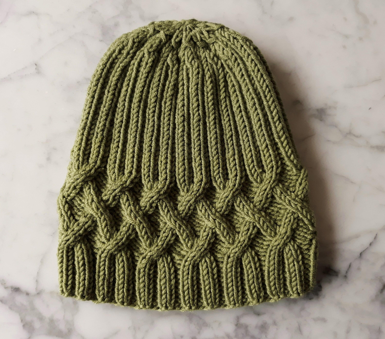 212076c739d Cable knit beanie in merino wool. Green knit beanie. Original design ...