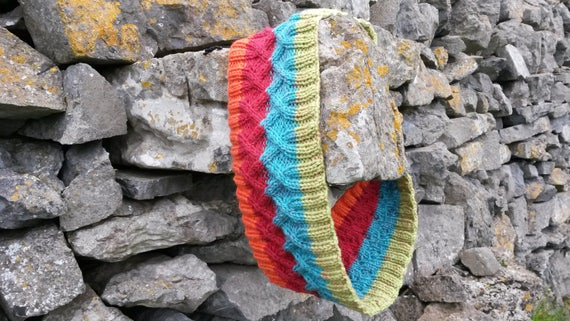 Infinity Scarf: Cable Knit Colorful Seamless Cowl. Made in Ireland. Circle Scarf. Original design. Knit snood. Festival knit. Boho scarf.