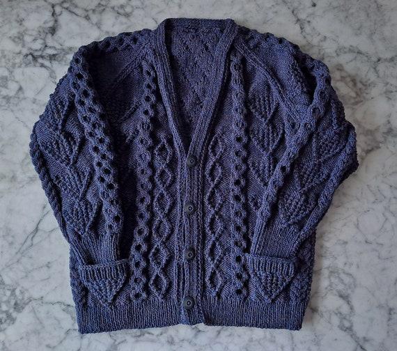 Handknit Aran men's cardigan: navy blue wool cardigan. Made in Ireland. Genuine Aran knit. One of a kind. Men's Aran cardigan. Men's XL Aran