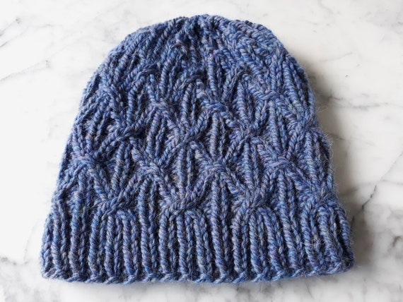 Blue knit beanie: handknit hat in luxury wool/alpaca yarn. Made in Ireland. Original design. Chunky knit beanie. Men's beanie. Women's hat.
