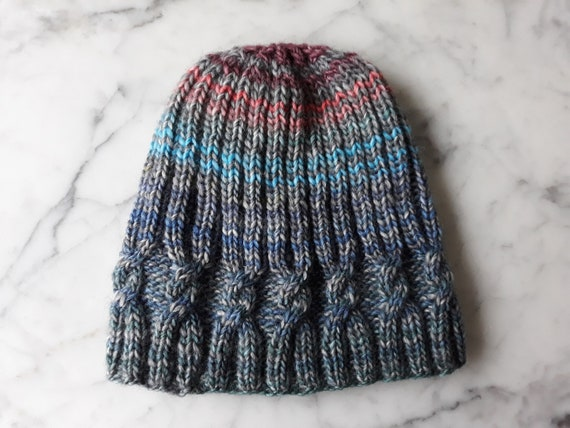 Cable knit beanie: handknit hat. Beanie for her. Beanie for him. Original design. Made in Ireland. Unique hat. Women's beanie. Men's beanie.