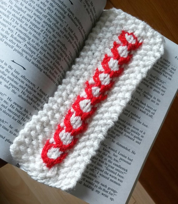 Aran knit bookmark: cream cable with red heart detail. Paperback sized! Lovely gift for booklover. Made in Ireland. Handmade. Valentine gift