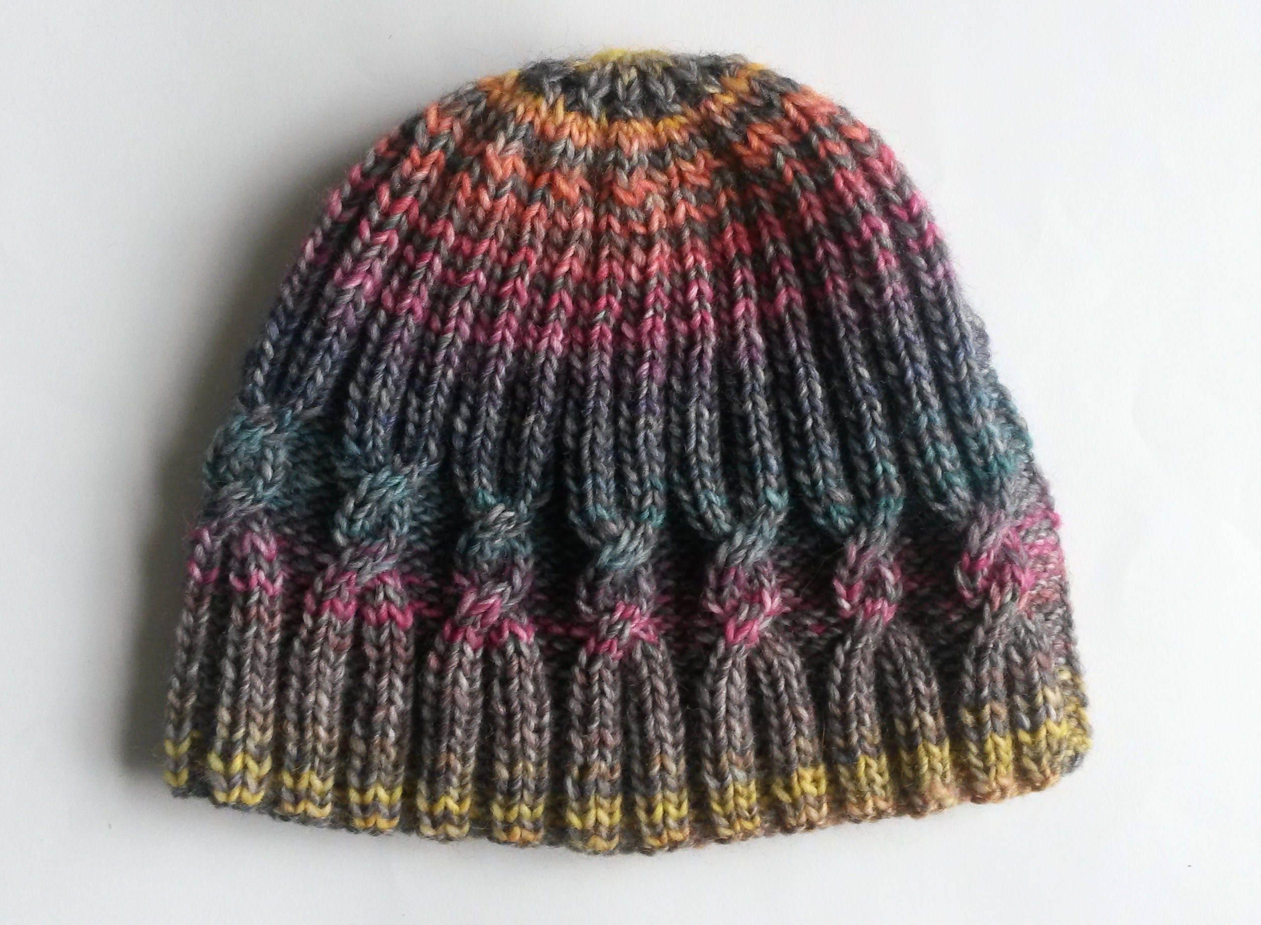 Handknit beanie hat. Large knit beanie. Original design. Cable knit hat ... aeeeb4c20f4