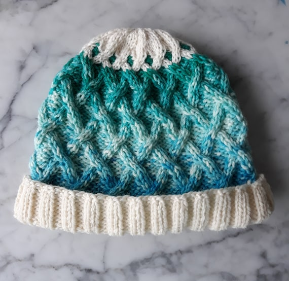 Cable knit beanie: unique wool beanie. Irish wool beanie. Turquoise beanie. Made in Ireland. One of a kind hat. Aran beanie hat Gift for her