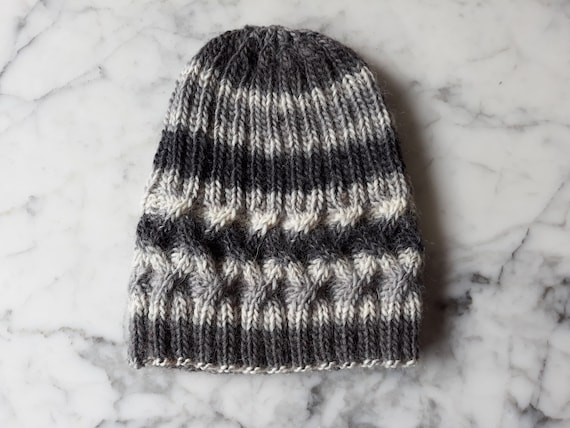 Cable knit beanie: wool handknit hat. Grey striped hat. Beanie for him. Beanie for her. Original design. Made in Ireland. Grey cable beanie.