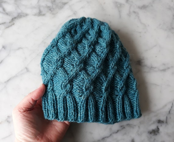 Turquoise hat: handknit beanie in handspun Irish wool. Original design. Made in Ireland. Beanie for her. Beanie for him. Cable knit beanie.