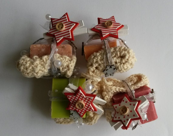 Knitted mini washcloth and soap gift set; from Rowan Denim cotton yarn. Handmade in Ireland. Gift for her. Cute stocking stuffer present!