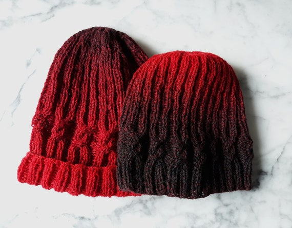 Cable knit beanie: fade beanies in black red. Handknit wool beanies. Slouchy beanie. His and hers beanies. Beanie for him. Beanie for her.