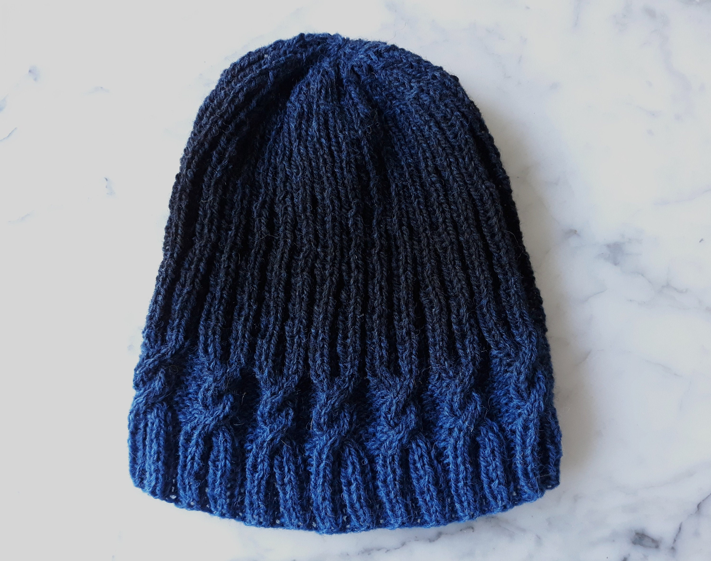 b40844b8498 Cable knit beanie  wool handknit hat in blue black fade yarn ...