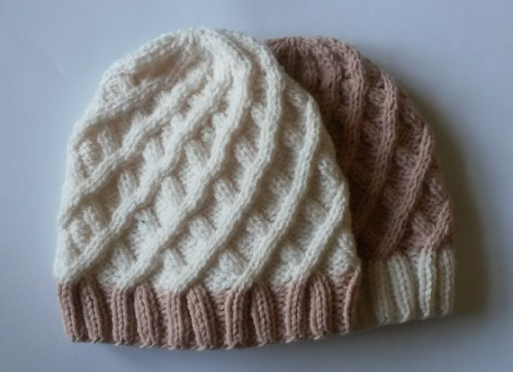 Girl's Aran Beanie in pink & white: handknit original design. Made in Ireland. Beanie for girl. Knit beanie for girl. Knit hat for girl.