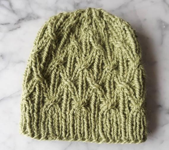 Chunky knit beanie: handknit hat in luxury yarn. Wool alpaca hat. Aran knit beanie. Original design. Made in Ireland. Women's beanie hat.