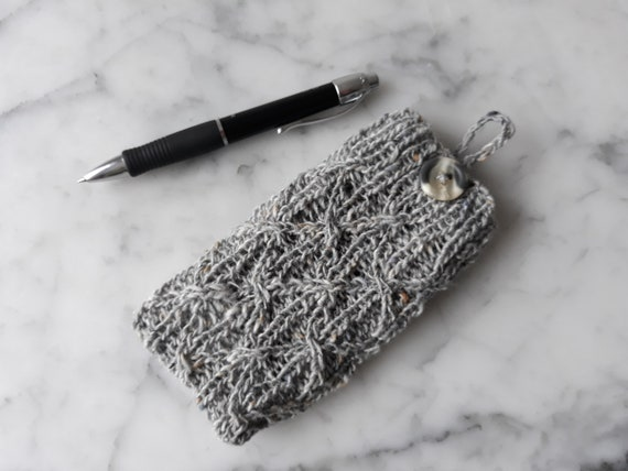 Knit phone cozy: cell phone cover in Irish tweed wool. Original design. Made in Ireland. Smartphone cosy. Knit phone sock. Samsung phonecosy