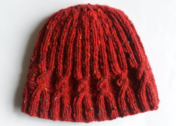 Cable knit beanie. Handknit wool hat. Red tweed Irish wool. Aran cable beanie. Made in Ireland. Men's beanie. Women's beanie. Boyfriend gift