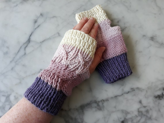 Fingerless mitts: handknit mittens. Matching cowl available. Original design. Made in Ireland. Striped mitts. Mittens for her. Mitts for her