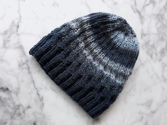 Wool knit beanie: handknit hat in blue and grey. Original design. Made in Ireland. Beanie for him. Beanie for her. Beanie mens. Beanie hat.