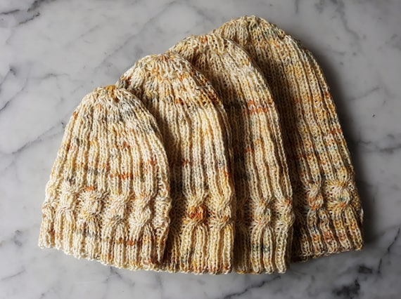 Knit beanie: Family hats. Handknit beanie hats in handdyed yarn. Cable knit beanies. Made in Ireland. Child's beanie. Women's beanie hat.